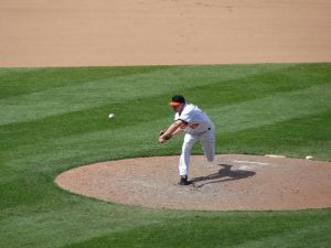 Throwing motion in young baseball players